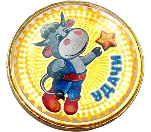 Купить цветную монету 10 рублей «Год быка 2021 — удачи» в открытке в интернет-магазине