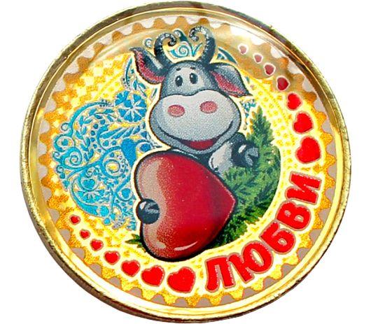 Купить цветную монету 10 рублей «Год быка 2021 — любви» в открытке в интернет-магазине