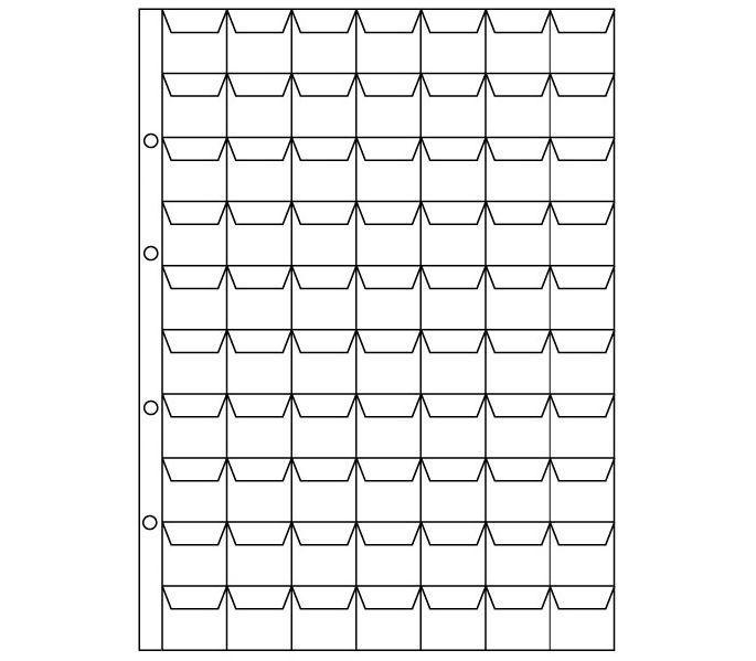 Анонс-изображение товара комплект листов для монет 200*250 мм на 70 ячеек 18*24мм, с клапанами (клм70к) 04-643-2025070